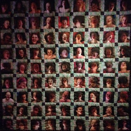 a quilt made up of photo's of individual orgasms