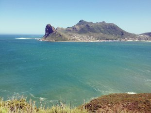 view of houtbay – karbonkelberg is the peak at the left tip